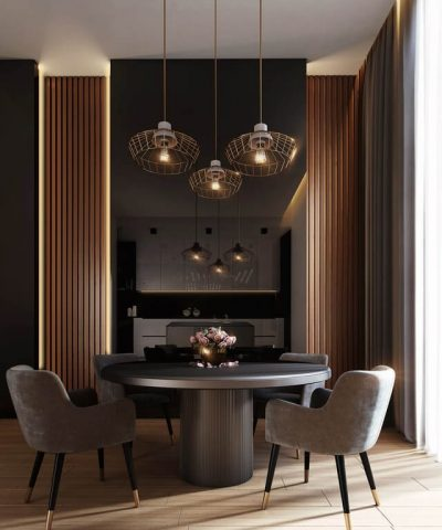 Services and Product grey dining table under pendant lamps